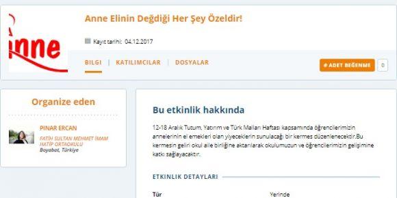 Fatih Sultan Mehmet İHO' da bir e twinning etkinliği: Anne Elinin Değdiği Her Şey Özeldir