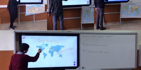 Hadımköy TOKİ AİHL coğrafya dersinde StarBoard software ve Antopi Teach kullanılıyor