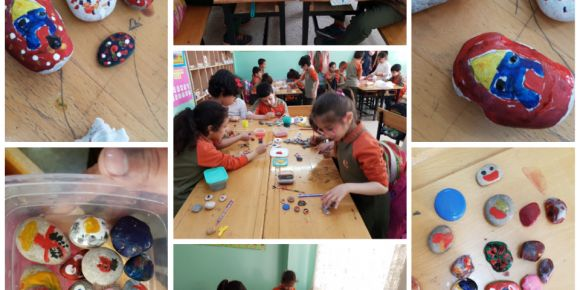 Yavru Tema öğrencileri taş boyama yaptılar