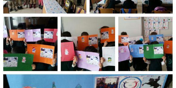 Farklı illerdeki  öğrenciler yeni yıl  kartları ile iletişime geçtiler