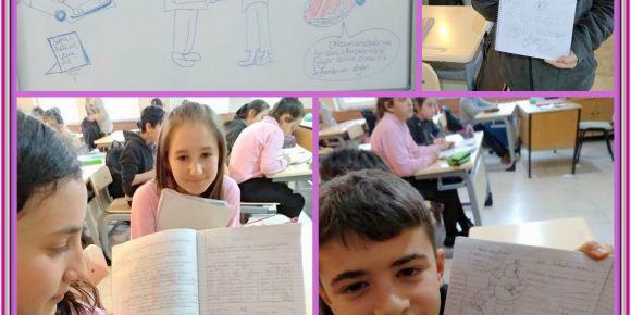 İsimler ve sıfatlar konusunda öğrenciler karikatür çizimleri ile konuyu eğlenerek öğrendi