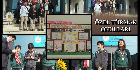 Yarışmayı kazanan öğrenciler madalyalarını aldı