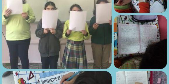 Öğrenciler Güvenli İnternet Günü akrostiş yazarak türkülerini yazıp seslendirdiler