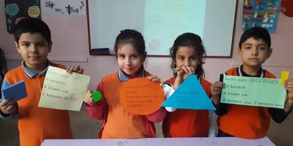 Nizip Cumhuriyet İlkokulu 2-D sınıfı geometrik şekiller etkinliği