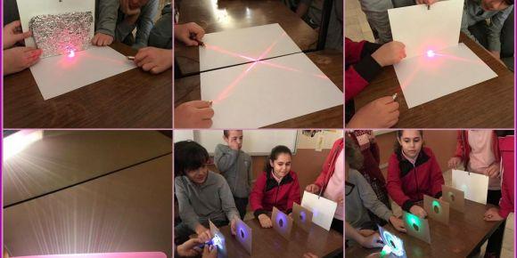 Fen Bilimleri dersinde ışığın yayılması ünitesinde, yansımayı deneyerek öğrendik