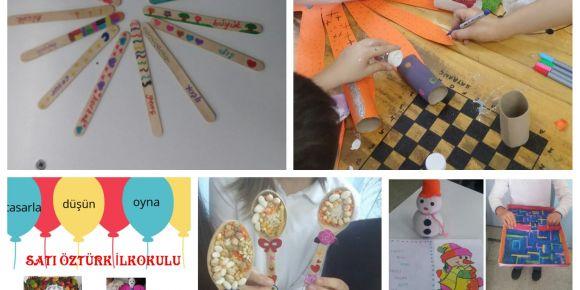 Satı Öztürk İlkokulu öğrencileri atık malzemelerden oyuncak yapıyor, eğlenerek öğreniyor