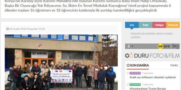 Kızören Somuncu Baba İmam Hatip Ortaokulu yerel basında