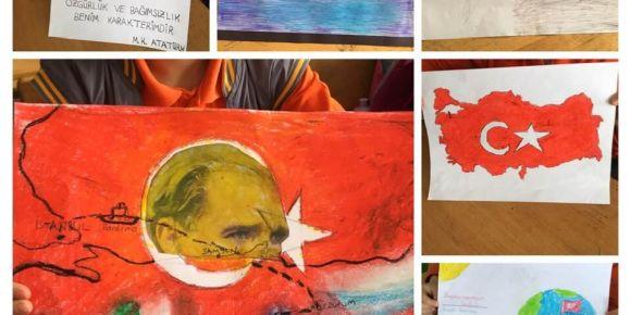 Öğrenciler Atatürk ve bağımsızlık temasıyla ilgili resim yaptılar