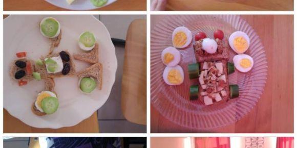 Sağlıklı ve eğlenceli kahvaltı tabağı