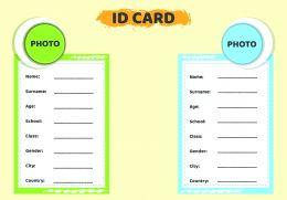 Kart üzerinde tanıtıcı bilgiler bulunur.Öğrenci bu bilgileri İngilizce olarak doldurabilir.