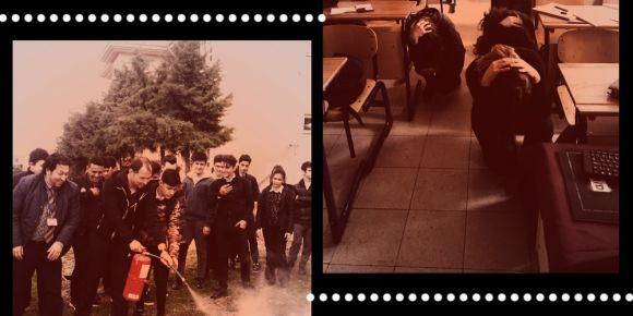 Zeynep-Mehmet Dönmez sivil savunma ve yangın söndürme tatbikatı yaptı