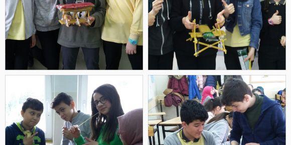 Atatürk Ortaokulu öğrencileri Stem yaklaşımını etkinleklerle öğreniyorlar.