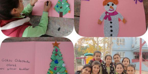 Mersin/Mut Göksu Ortaokulu proje ortağı olduğu okullara  yeni yıl tebrik kartı hazırlıyor