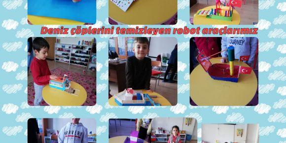 Anasınıfı D Şubesi öğrencileri kirli denizleri temizleme robotu tasarladı