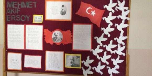 12 Mart İstiklal Marşının Kabulü ve Mehmet Akif Ersoy'u Anma Günü Pano çalışmamız