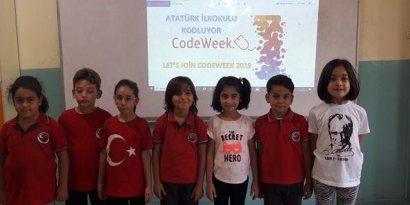 """Atatürk İlkokulu öğrencilerimiz """"Let's Join Codeweek2019"""" temalı e-twinning projesi"""