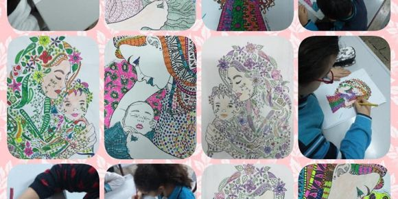 Mutlu kadınlarımız mutlu annelerimiz mandala  boyama çalışmaları