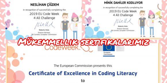 Minik Dahilerin Code Week Haftası Mükemmellik Sertifikaları