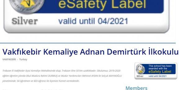 Kemaliye İlkokulu e-güvenlik etiketi aldı