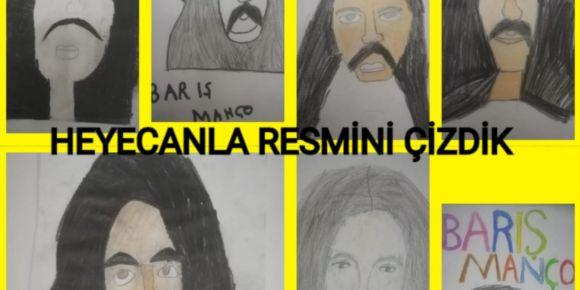 50.Yıl İlkokulu 4/B Sınıfı Öğrencileri Barış Manço'nun Resmini Ressam Edasıyla Çizdiler