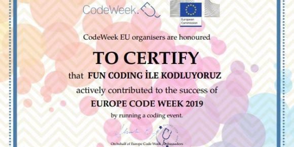 Kod haftası etkinlik sertifikamızı aldık