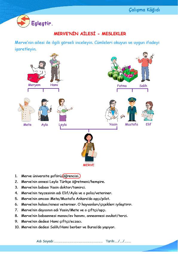 AİLE-MESLEKLER (A1.1)