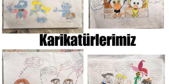 Yunus Emre İlkokulu  Code Mode On-2019 projeleriyle karikatürlerini hazırladılar