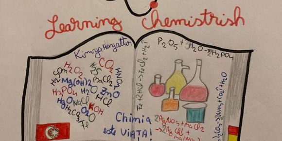 "Etwinning projesi ""Learning chemistrish"" logosu"