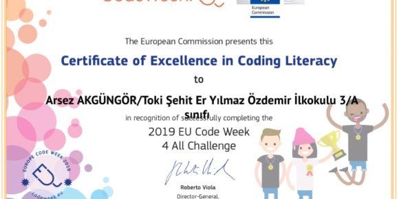 Avrupa Kod Haftası mükemmelik sertifikamız
