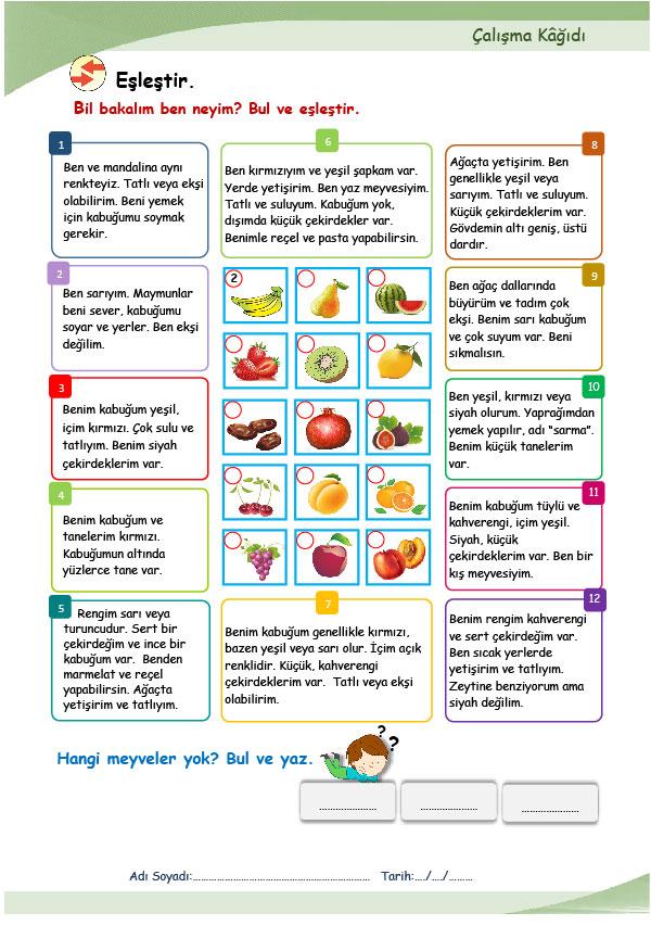YİYECEK-İÇECEK (sebzeler) (A1.1)