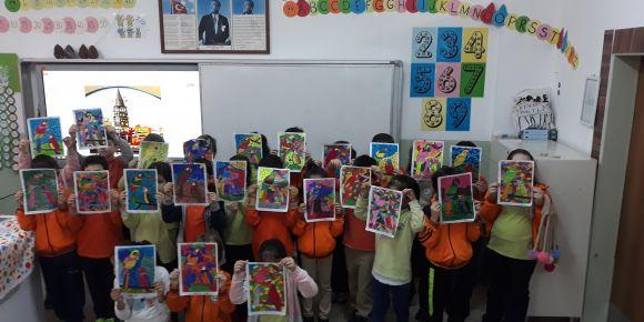 Cahit Zarifoğlu İlkokulu 2/D Sınıfı Vitray çalışması