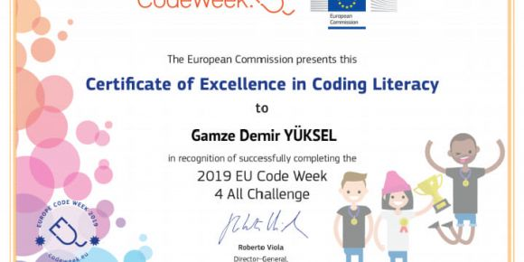 Code Week mükemmellik sertifikamızı aldık
