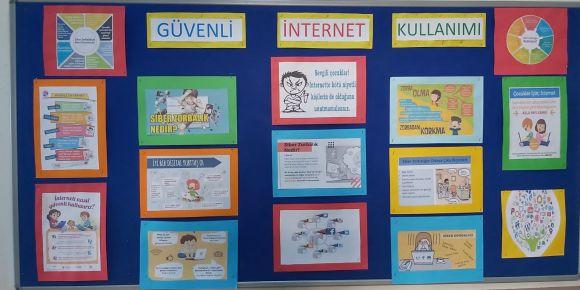 Atatürk İlkokulunda güvenli internet günü panoları hazırlandı