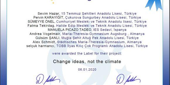 Change Ideas, Not the Climate (İklim Değil Fikirleri Değiştirin) E twinnig projesi