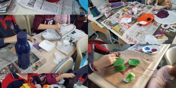 """etwining """"Altenatif Sanat"""" projesi Şubat ayı ahşap boyama etkinliği"""