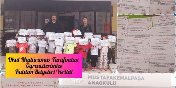 Minikler proje  katılım belgelerini aldılar