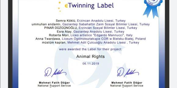 "Erzincan Anadolu Lisesi'nden bir eTwinning projesi ""Animal Rights"""