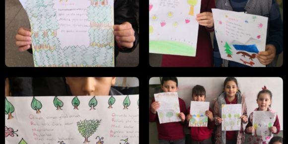 """Türkçe dersindeki """"ormanlar"""" metnini kendi yazdığımız şiirle, resimle ve şarkıyla işledik"""